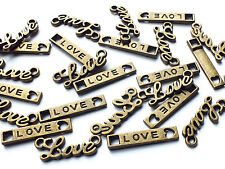 25 x Quality Mixed Antique Bronze tone Love Word Connector Charms, Vintage/Cute