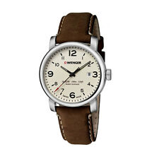 *BRAND NEW* Wenger Men's Beige Analog Date Dial Brown Leather Watch 01.1041.138