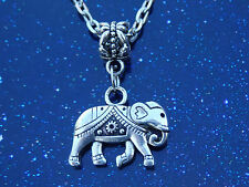 Cute Tibetan Silver Elephant Pendant Charm Silver Tone Necklace Chain