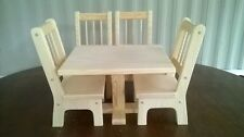 Handmade Rectangle Table & 4 Chairs for 18 inch Doll