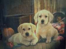 yellow labrador retriever pups vintage wall canvas wall hanging nib