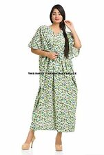 Floral Print Cotton Embroidered Long Kaftan Indian Caftan Arabic Dress Abay Maxi