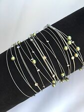 Seasonal Whispers Green Pearls Silver Set Of 4 Bracelets Size M