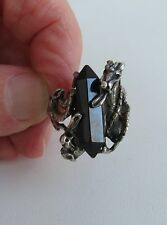 VTG Double dragon 2 fight  sterling silver black facted long  onyx size 9 ring