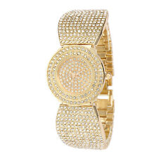 Alias Kim Women's Stainless Steel Full Gold Crystal Bracelet Bangle Wrist Watch
