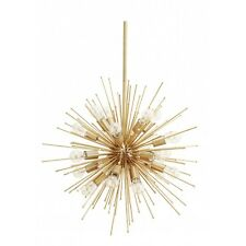 """20 Lights Mid Century Modern Brass Sputnik Urchin Chandelier Light Fixture 30""""D"""