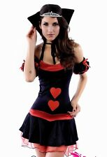 Black Queen of hearts fancy dress outfit Alice in wonderland costume 8-10 S