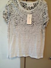 NWT Two by Vince Camuto Cap Sleeve Black White Leopard Print Blouse SZ L FS
