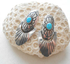 Vintage Southwest Sterling Silver Turquoise Hinged Earrings    424110