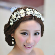 pearl crystal bridal headdress tiara wedding hair accessories for brides