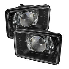 "Fit H4651/4652/4656/4666 4""x6"" Sealed Beam Projector Headlights LED Black Pair"