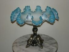Victorian Antique Art Glass White Opal with Blue Overlay Footed Fruit Stand