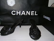 """CHANEL Leather Camellia SHOES Black Mules CC Logo Pumps 3"""" Patent Heels 38 8 7.5"""