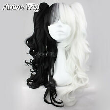 Halloween Black Mixed White 80CM Long Curly Ponytails Anime Lolita Cosplay Wig