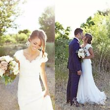 2016 Modest V Neck Lace Wedding Dress Bridal Gown Custom Size 2 4 6 8 10 12+