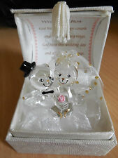 BRIDE AND GROOMS  PERSONALISED WEDDING DAY GIFT OF GLASS TEDDY'S IN A BOX