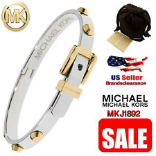 Michael Kors Heritage Womens Astor Buckle Bangle Two Tone Stud Bracelet MKJ1892