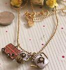 EN144 Gold Plated Bus Teapot Teacup Necklace Elegant Princess Long Necklace :)
