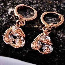 Rose Gold Filled Clear CZ Whirlwind Dangle Hoop Earrings For Girls /Womens