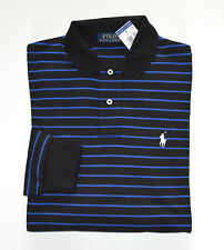 NWT Men's Ralph Lauren Long-Sleeve Jersey Polo Shirt, Black, Blue, L, Large
