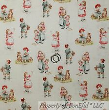 BonEful Fabric FQ Cotton Quilt VTG Antique Toile Boutique Baby Boy Girl Dog RARE