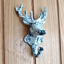 DEER Stags HEAD METAL IN GHISA BIANCO ANTICO WALL Coat Hook Door Hanger RACK