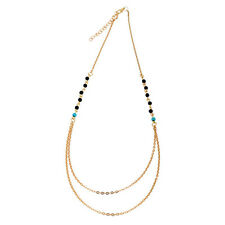 Womens Bohemian Bead Charm Gold Double Layer Chain Necklace Jewelry Lover Gift
