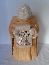 """Vintage  Treasure Craft  """"Thou Shalt Not Steal Cookies"""" Monk Cookie Jar"""