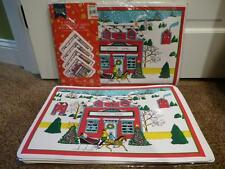 22-Vtg Vinyl Christmas Placemat Country Store Scene Coaster Set Foam Table NWT