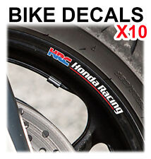 10X HRC HONDA RACING MOTORCYCLE BIKE WHEEL STICKERS DECALS TAPE RIMS