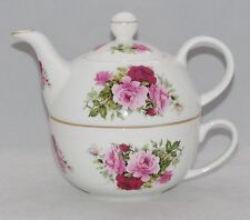 Crown Victorian Bone China Tea for One Set  Stacked Teapot & Cup SUMMERTIME PINK