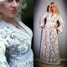 Vtg 70s CUT OUT Lace CROCHET Hippie SHEER Scalloped WEDDING Runway Maxi DRESS