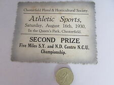 CHESTERFIELD Floral Society 1930  ATHLETIC Sports  SECOND Prize  QUEENS Park