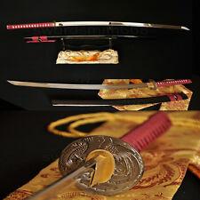 Handmade Japanese Samurai Sword Katana Full Tang Blade Phoenix Tsuba Very Sharp