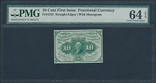 Fr1242 10¢ First Issue Fractional Currency S.E. W/ Monogram Pmg 64 Epq Br1202