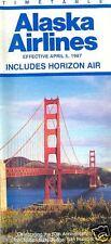 Airline Timetable - Alaska - Horizon Air - 05/04/87 50th Ann Golden Gate Bridge
