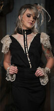 Lip Service Step in Time Steampunk Victorian Black Cotton & Lace Blouse Top XS