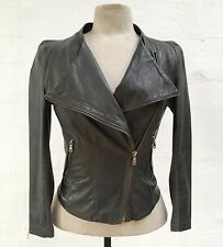 TOPSHOP Soft GRAY LEATHER Super FITTED Sexy MOTO JACKET US 2 EURO 34 UK 6 GREAT