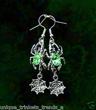 NEON LIME GREEN CRYSTAL SPIDER WEB DANGLE SILVER EARRINGS~HALLOWEEN GIFT FOR HER