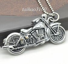 Coll Men's Silver Plated Alloy Running Motorcycle Pendant Necklace Chain A238