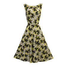 New Vintage Nostalgia 1930's 1940's Palm Tree Tropical Tea dress UK 12