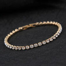 Children Bracelet Round Crystal Tennis Gold Bracelet Yellow Gold Plated Gift