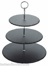 Kitchen Craft Natural Slate 3 Tier Round Cake Serving Stand Party Buffet Platter