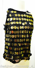 Simon Chang Black Mesh evening cocktail Top Black Gold Confetti sequin blouse S