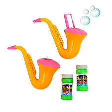 Kids Pack of 2 Saxophone Bubble Blowers With Bubble Solutions Set