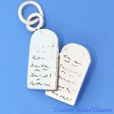 THE TEN 10 COMMANDMENTS Decalogue .925 Solid Sterling Silver Charm Moses