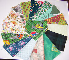 craft patchwork fabric material remnants shades of green