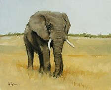 Original Oil painting - wildlife art -  elephant portrait  - by j payne