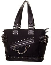 Banned Handbag Shoulder School Bag Plain Black Gothic Punk Rockabilly Zip Chain