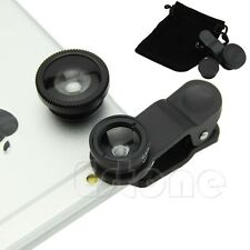 180° 3in1 Wide Angle+Fish Eye+Macro Camera Photo Zoom Lens Set For iPhone 5 5s 6